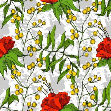 Vector Tropical floral botanical flower. Exotic tropical hawaiian summer. Engraved ink art. Seamless background pattern. Fabric wallpaper print texture. stock vector