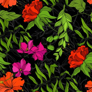 Vector Tropical floral botanical flower. Exotic tropical hawaiian summer. Engraved ink art. Seamless background pattern. Fabric wallpaper print texture. clip art vector