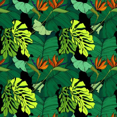 Vector Tropical floral botanical flowers. Wild spring leaf wildflower isolated. Black and white engraved ink art. Seamless background pattern. Fabric wallpaper print texture. stock vector