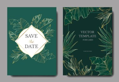 Vector Tropical floral botanical flowers. Golden engraved ink art. Wedding background card floral decorative border. Thank you, rsvp, invitation elegant card illustration graphic set banner. clip art vector