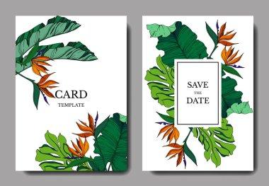 Vector Tropical floral botanical flowers. Engraved ink art. Wedding background card floral decorative border. Thank you, rsvp, invitation elegant card illustration graphic set banner. stock vector