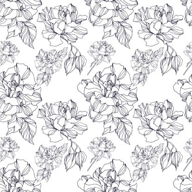 Vector Roses floral botanical flowers. Wild spring leaf wildflower isolated. Black and white engraved ink art. Seamless background pattern. Fabric wallpaper print texture. clip art vector