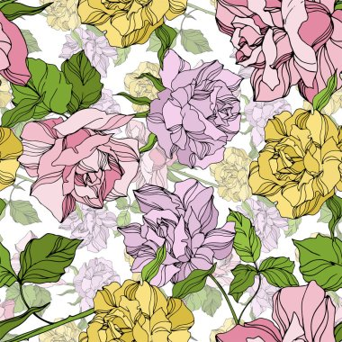 Vector Rose floral botanical flowers. Wild spring leaf wildflower isolated. Engraved ink art. Seamless background pattern. Fabric wallpaper print texture. stock vector