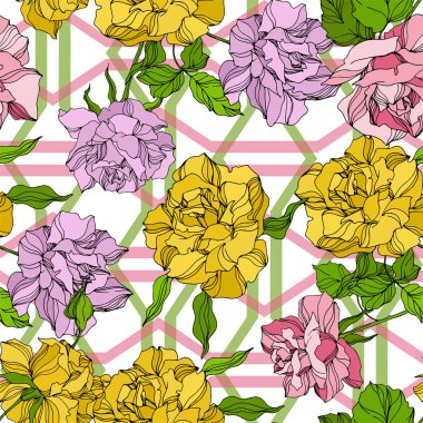 Vector Rose floral botanical flowers. Wild spring leaf wildflower isolated. Engraved ink art. Seamless background pattern. Fabric wallpaper print texture. clip art vector