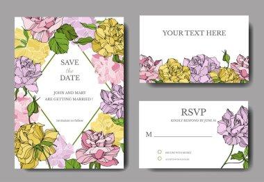 Vector Rose floral botanical flowers. Engraved ink art. Wedding background card floral decorative border. Thank you, rsvp, invitation elegant card illustration graphic set banner. stock vector