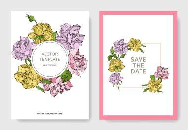 Vector Rose floral botanical flowers. Engraved ink art. Wedding background card floral decorative border. Thank you, rsvp, invitation elegant card illustration graphic set banner. clip art vector