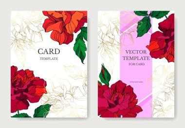 Vector Rose floral botanical flowers. Red and green engraved ink art. Wedding background card floral decorative border. Thank you, rsvp, invitation elegant card illustration graphic set banner. stock vector