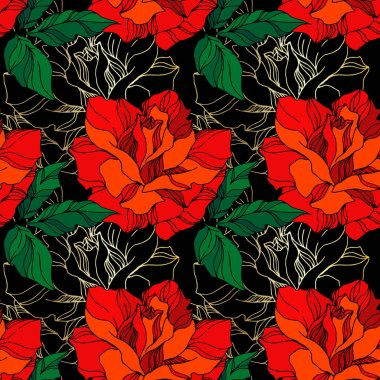 Vector Rose floral botanical flowers. Wild spring leaf wildflower isolated. Green and red engraved ink art. Seamless background pattern. Fabric wallpaper print texture. clip art vector
