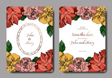 Vector Roses floral botanical flowers. Black and white engraved ink art. Wedding background card decorative border. Thank you, rsvp, invitation elegant card illustration graphic set banner. stock vector