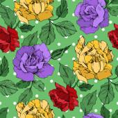 Vektor růže květinové botanické květiny. Černobílý rytý inkoust. Bezproblémové pozadí vzor.