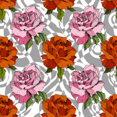 Vektorový exotický zebří tisk s botanickými květy. Černobílý rytý inkoust. Bezproblémové pozadí vzor.