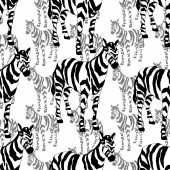 Photo Vector Exotic zebra print wild animal isolated. Black and white engraved ink art. Seamless background pattern.