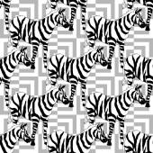 Vektor Exotické zebra tisk volně žijících živočichů izolovaných. Černobílý rytý inkoust. Bezproblémové pozadí vzor.