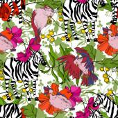 Vektor egzotikus zebra nyomat vadállat izolált. Fekete-fehér vésett tinta művészet. Zökkenőmentes háttér minta.