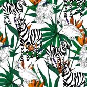 Vektor exotische Zebra drucken wilde Tiere isoliert. Schwarz-weiß gestochene Tuschekunst. nahtloses Hintergrundmuster.