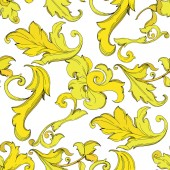 Vector Gold monogram floral ornament. Black and white engraved ink art. Seamless background pattern.