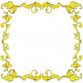 Vektorový zlatý monogram květinový ornament. Černobílý rytý inkoust. Ozdobný rámeček rámečku.