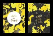 Vektor arany monogram virágdísz. Fekete-fehér vésett tinta művészet. Esküvői háttér kártya dekoratív határ.