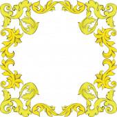 Vektor arany monogram virágdísz. Fekete-fehér vésett tinta művészet. Keret határ dísz tér.