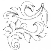 Vector Golden Monogram floral ornament. Black and white engraved ink art. Isolated ornaments illustration element.