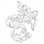 Vektorový zlatý monogram květinový ornament. Černobílý rytý inkoust. Izolovaný monogramový ilustrační prvek.