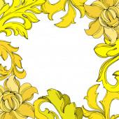 Fényképek Vektor arany monogram virágdísz. Fekete-fehér vésett tinta művészet. Keret határ dísz tér.