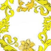 Vector Golden monogram floral ornament. Black and white engraved ink art. Frame border ornament square.