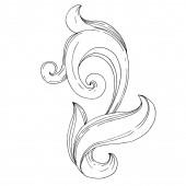 Vector Golden monogram floral ornament. Isolated ornament illustration element. Black and white engraved ink art.