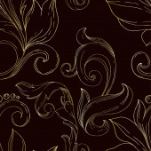 Fotografia Vector Golden monogram floral ornament. Black and white engraved ink art. Seamless background pattern.