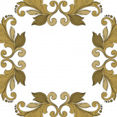 Vector Golden monogram floral ornament. Black and white engraved ink art. Frame border ornament square.