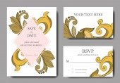 Vector Golden monogram floral ornament. Black and white engraved ink art. Wedding background card decorative border.