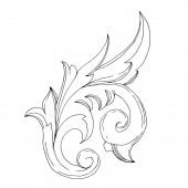 Vektor barokk monogram virágdísz. Fekete-fehér vésett tinta művészet. Izolált díszítő illusztrációs elem.
