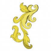 Vektorový zlatý monogram květinový ornament. Černobílý rytý inkoust. Izolovaný ozdobný ilustrační prvek