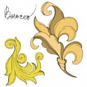 Vektor arany monogram virágdísz. Fekete-fehér vésett tinta művészet. Izolált díszítő illusztrációs elem