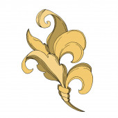 Vector Golden monogram floral ornament. Black and white engraved ink art. Isolated ornament illustration element