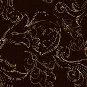 Fotografie Vector Golden monogram floral ornament. Black and white engraved ink art. Seamless background pattern.
