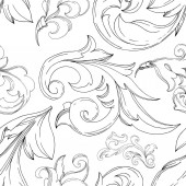 Vector Baroque monogram floral ornament. Black and white engraved ink art. Seamless background pattern.