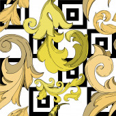 Vector Golden monogram floral ornament. Black and white engraved ink art. Seamless background pattern.