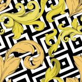 Vektor arany monogram virágdísz. Fekete-fehér vésett tinta művészet. Zökkenőmentes háttér minta.
