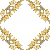 Vector Golden monogram floral ornament. Black and white engraved ink art. Frame border ornament squar.