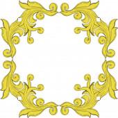 Vektor arany monogram virágdísz. Fekete-fehér vésett tinta művészet. Keret határdísz négyzet.