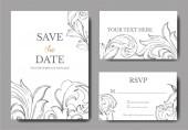 Vektor barokk monogram virágdísz. Fekete-fehér vésett tinta művészet. Esküvői háttér kártya dekoratív határ.