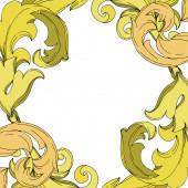 Vector Golden monogram floral ornament. Black and white engraved ink art. Frame border ornament squar.