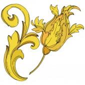 Vector Golden monogram floral ornament. Black and white engraved ink art. Isolated monogram illustration element.
