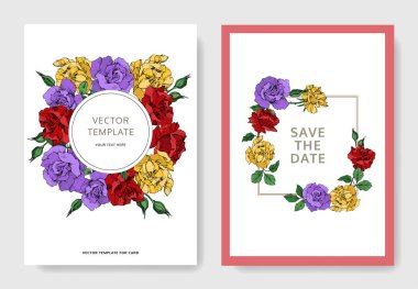 Vector rose floral botanical flowers. Black and white engraved ink art. Wedding background card decorative border. Thank you, rsvp, invitation elegant card illustration graphic set banner. stock vector