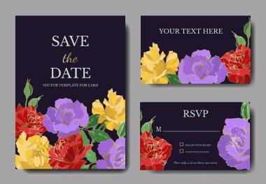 Vector rose floral botanical flowers. Black and white engraved ink art. Wedding background card decorative border. Thank you, rsvp, invitation elegant card illustration graphic set banner. clip art vector