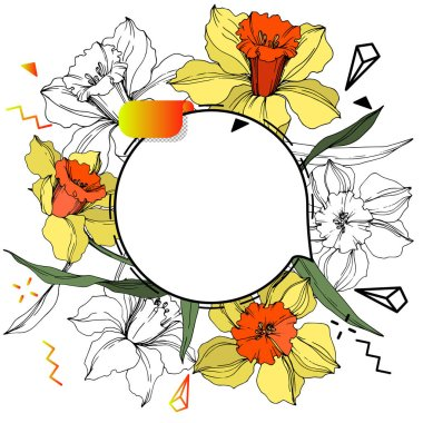 Vector Label tags set. Engraved ink art. Isolated sticker illustration element. Narcissus floral botanical flower.