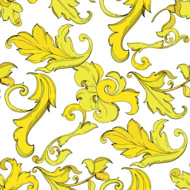Vector Gold monogram floral ornament. Baroque design isolated elements. Black and white engraved ink art. Seamless background pattern. Fabric wallpaper print texture. clip art vector