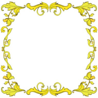 Vector Gold monogram floral ornament. Baroque design isolated elements. Black and white engraved ink art. Frame border ornament square on white background. stock vector