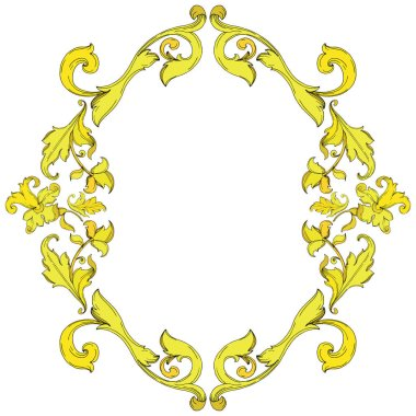 Vector Gold monogram floral ornament. Baroque design isolated elements. Black and white engraved ink art. Frame border ornament square on white background. clip art vector